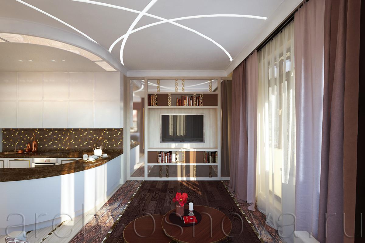 Напротив комфортного дивана расположен встроенный стеллаж, выполненный по авторским эскизам нашего дизайнера. Стеллаж выполнен из светлого дерева, часть фасадов декорирована бронзовым зеркалом, часть выкрашена в глубокий карамельный тон.  В качестве декоративных элементов мы использовали латунные вставки с резным орнаментом.