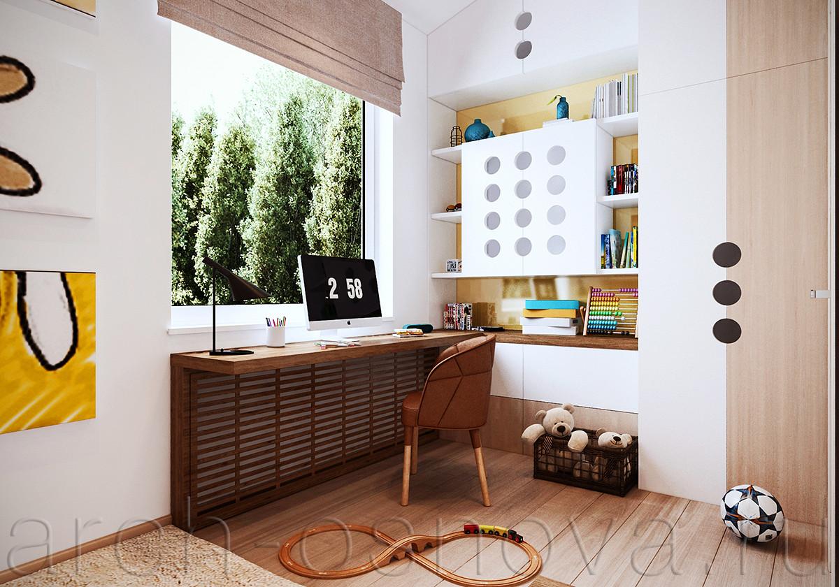 Поверхность рабочей столешницы переходит в одну из полок стеллажа для книг и игрушек. Дверцы стеллажа декорированы круглыми отверстиями, которые выполняют роль дверных ручек.
