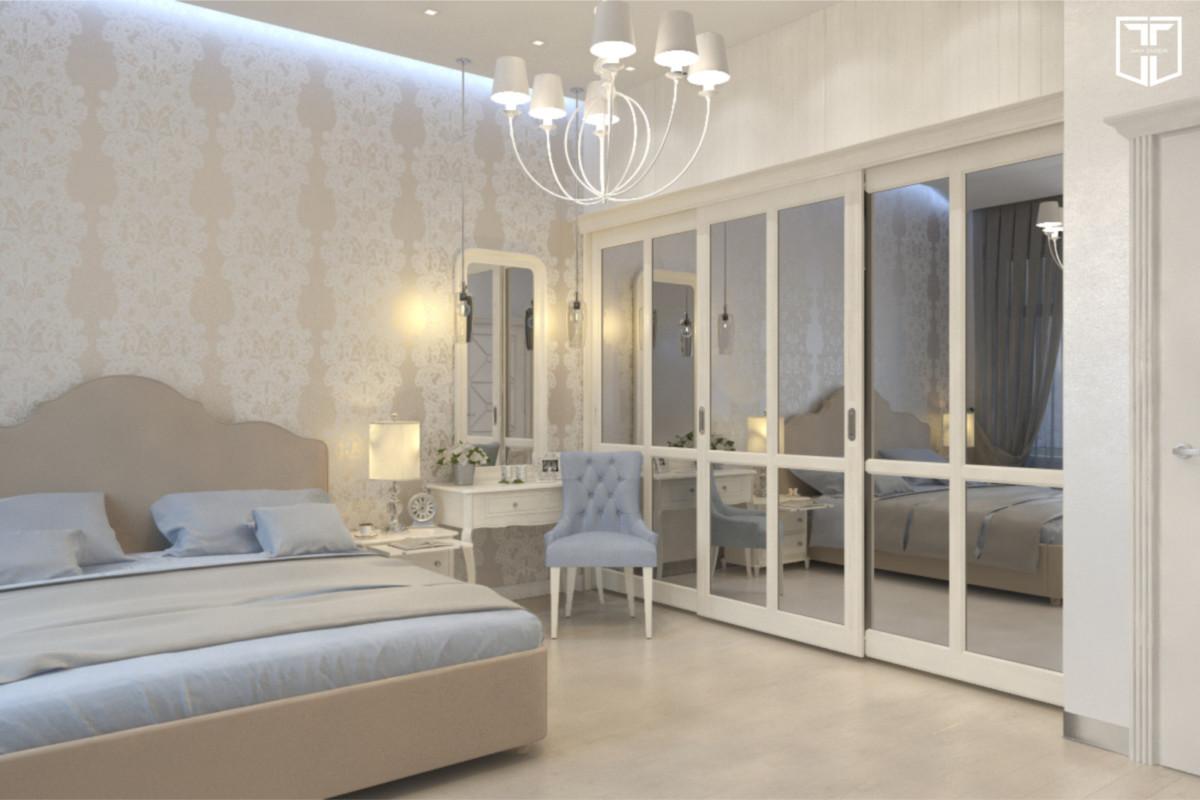 Нежная спальня в светлых тонах с кружевными обоями на стене.