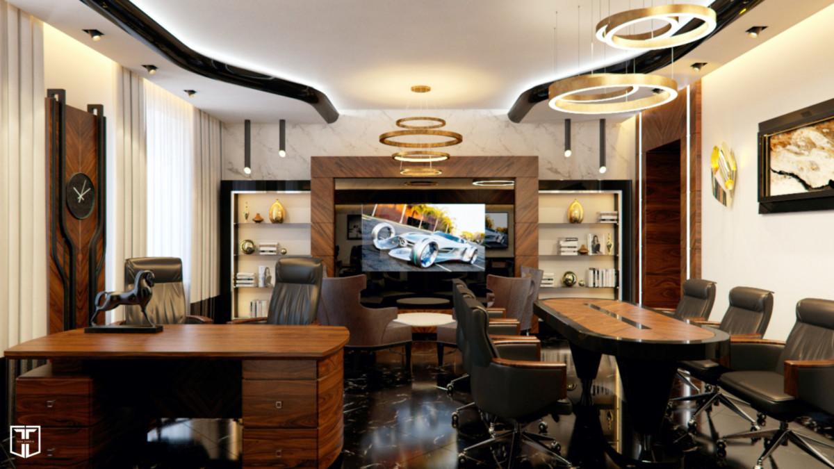 Плавные линии потолка и светильников, мебель корабельного типа — всё это позволяет генеральному директору компании ощущать себя за рабочим столом как за штурвалом корабля. ТВ-панель находится за стеклянной поверхностью, когда она выключена, ничто не отвлекает от рабочего процесса.