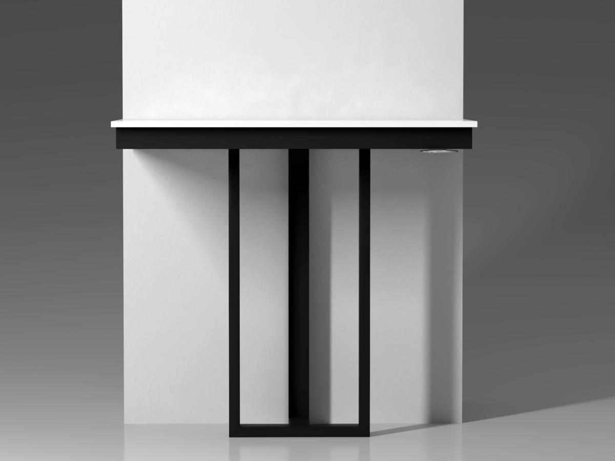 Визуализация пристенного столика для одиночного места парикмахера.