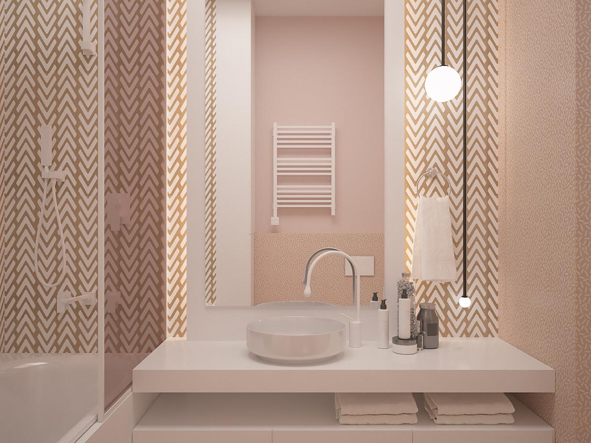 В ванной комнате при спальне решено было создать очень тёплую по цветам атмосферу. Плитка Ornamenta имеет геометричный интересный рисунок песочного оттенка. Также использовали персиковый и нежно-розовый цвета.