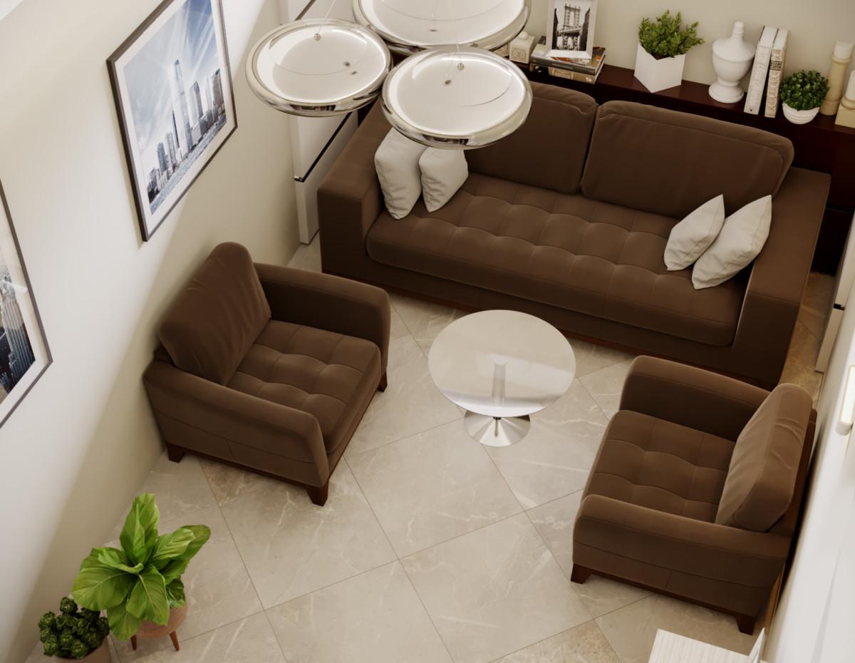 В комнате отдыха для сотрудников разместилась диванная зона.