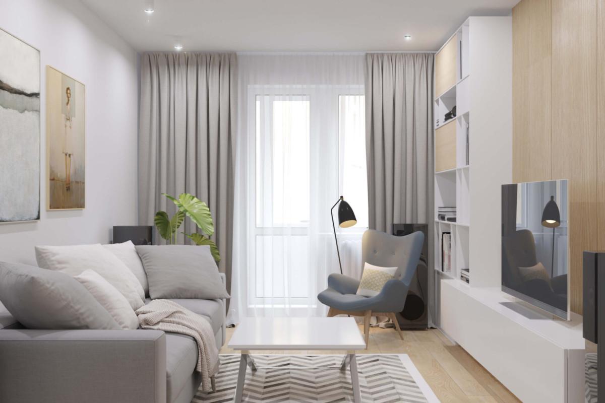 Белая трёхкомнатная квартира с кабинетом на балконе