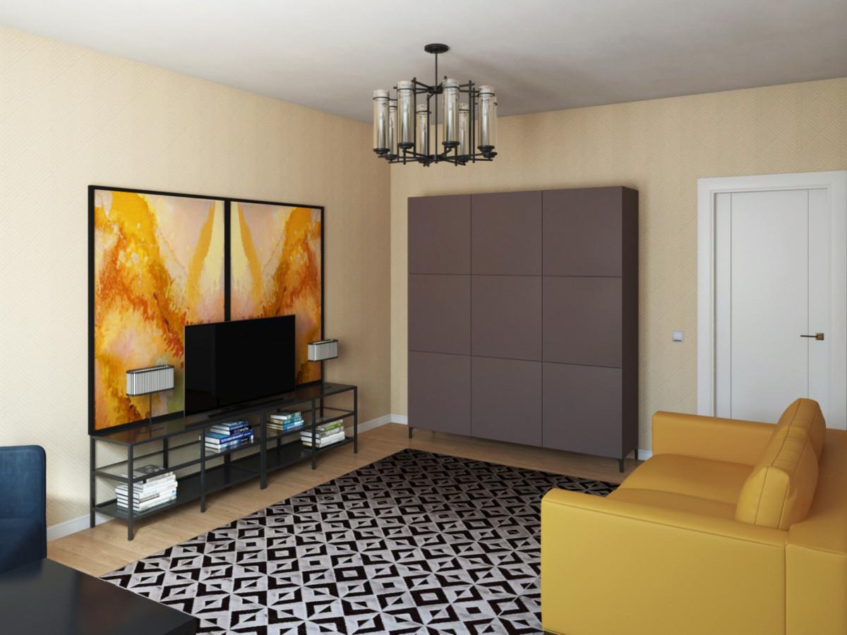 Гостиная. Контрастные и яркие цвета, металлическая мебель, чёткие геометрические формы создают современный интерьер. Узор ковра повторяет узор на обоях.