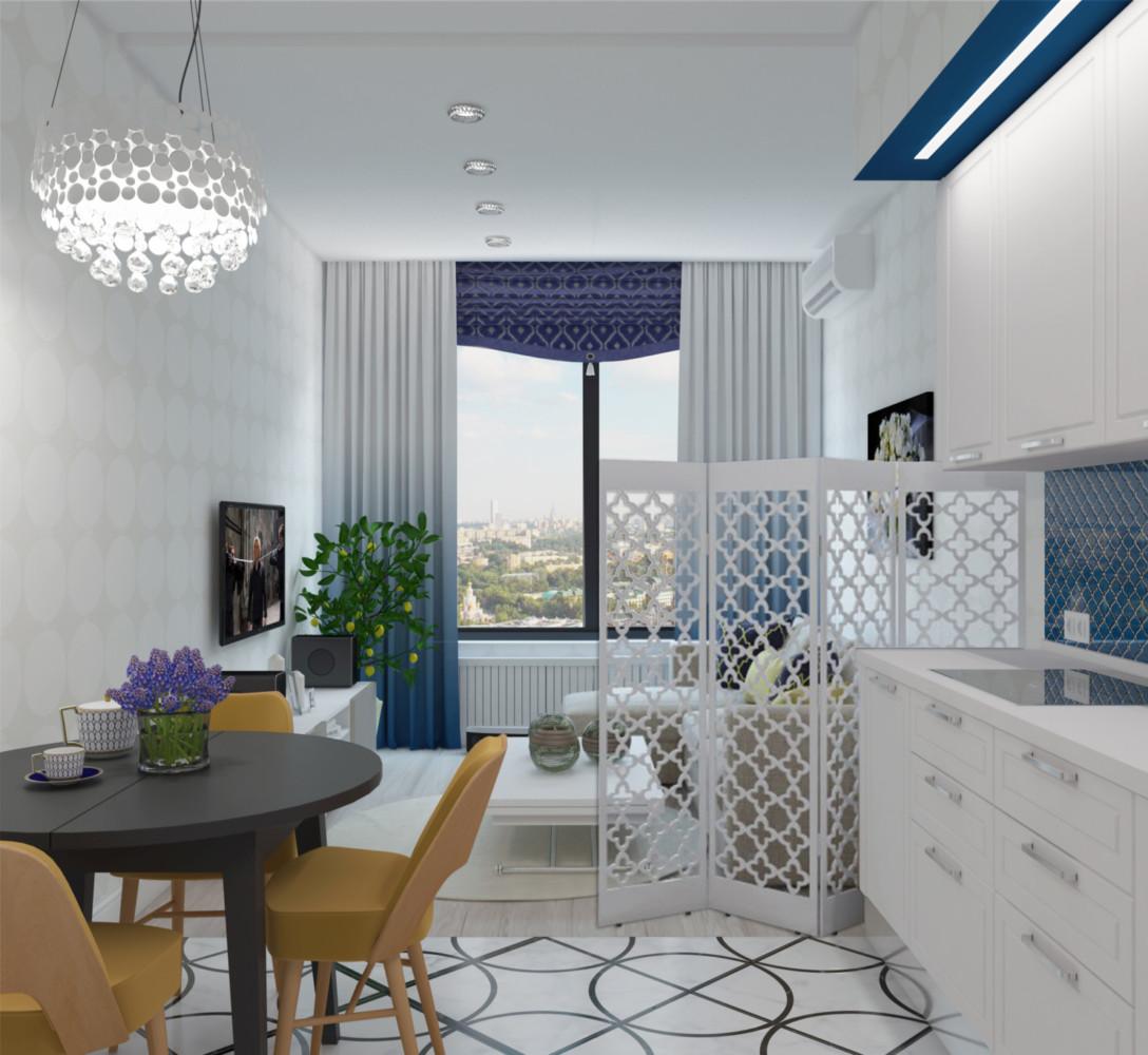 Белая двушка с красивым балконом и огромным количеством мест хранения