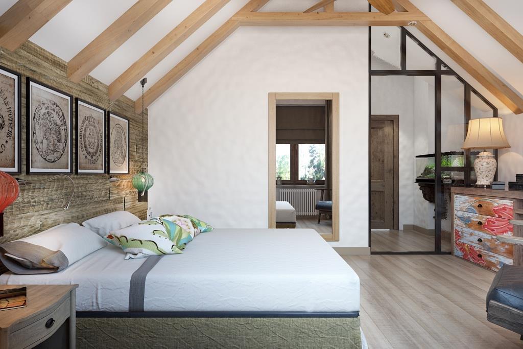 При входе в спальную комнату есть маленький коридорчик со сложной формой потолка. Лежа на кровати, человеку комфортнее видеть все пространство, в котором он находится и поэтому возникла стеклянная перегородка, она визуально замыкает спальное пространство и отсекает ненужное