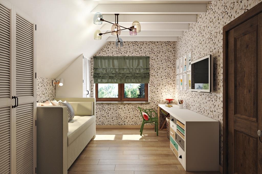 Светлая, нежная, в спокойных тонах, но с яркими модными оттенками - комната для маленькой девочки. Пространство сделано универсальным в плане возрастного предназначения. Основные материалы дерево и текстиль - экологично и комфортно