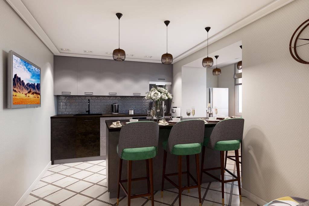 Максимально комфортное расположение кухонного гарнитура - это два параллельных ряда, с расстоянием между ними в 115 см. Это позволяет, находясь на одном месте дотянутся до максимального количества шкафчиков