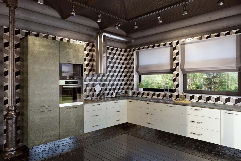 Акцентом в этой композиции является орнамент стены. Все остальное - это фоновые элементы. И даже немецкая кухня, с прекрасной текстурой фасада и столешницы, выступает лишь фоновым элементом. Керамогранитная плитка выбрана оптимального размера для правильного восприятия масштаба. Есть элементы, которые украшают и подчеркивают эту композицию: хромированная вытяжка; зеркальный кухонный цоколь и конечно, два прекрасных квадратных окна с прекрасным видом из них