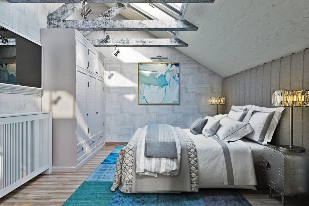 Отделочный материал стен был подобран максимально комфортным. Обои с текстурой шкурок в бело-серых тонах, светло-серое текстильное изголовье во всю стену