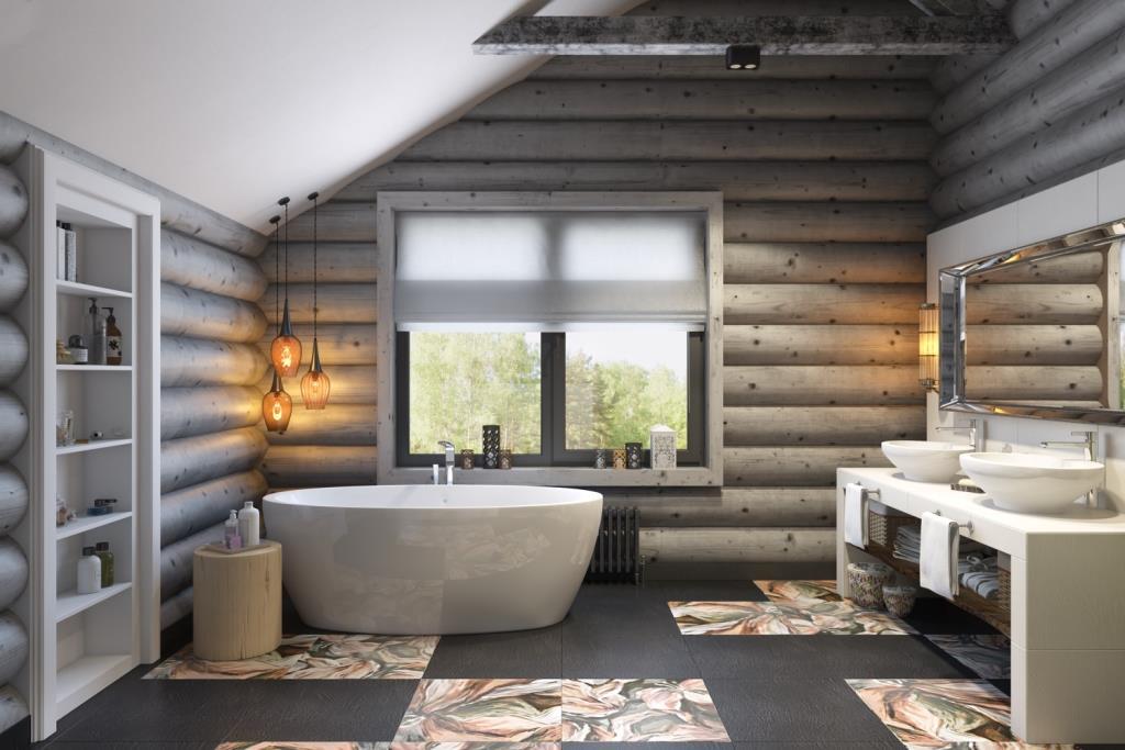 Идеальное пространство для отдыха и приятного времяпрепровождения. Высокие потолки с балками, оригинальная цветовая гамма керамической плитки, размещение ванны возле окна, умывальная зона на двоих и все это создает потрясающее, необычное и стильное пространство