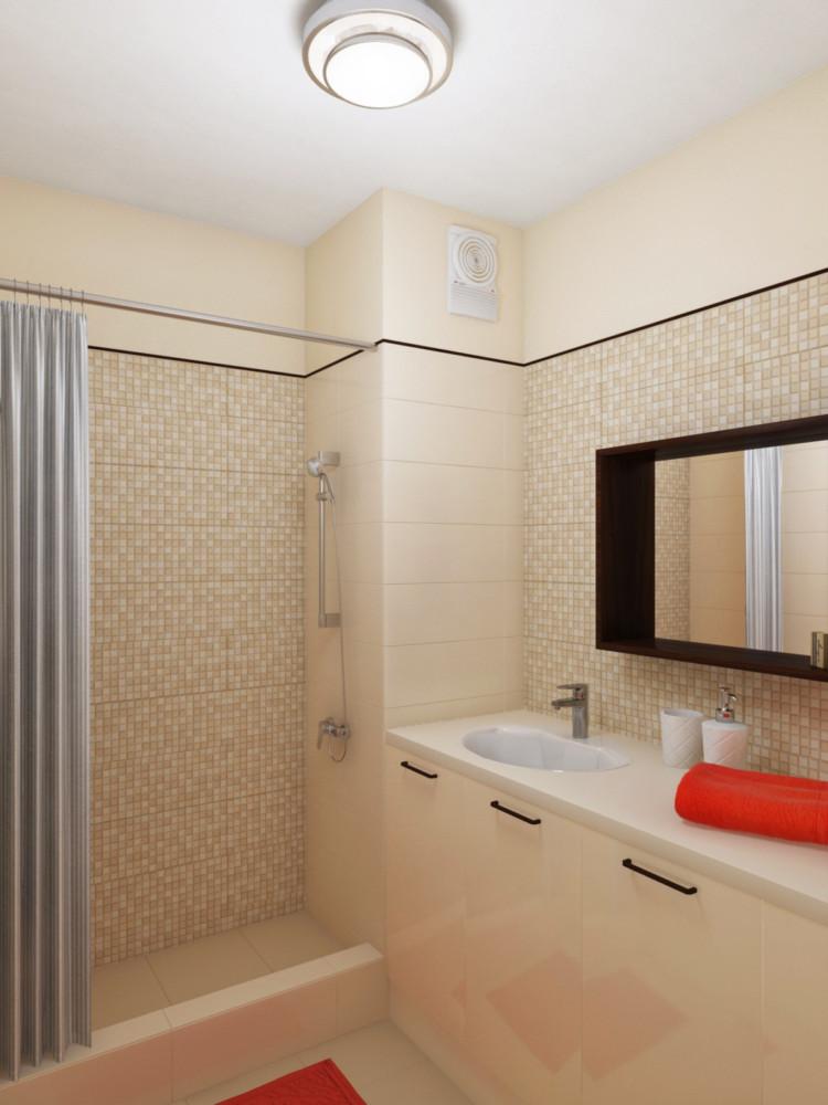 В ванной комнате — тумба для раковины и стиральной машины, душевая кабина в строительном исполнении. Контрастный  уголок для плитки отделяет её от краски и служит декоративным акцентом.