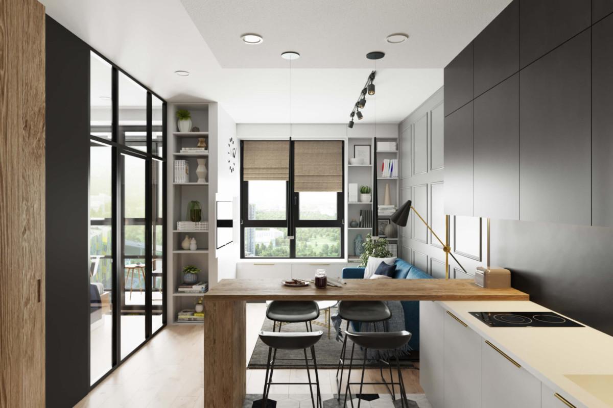 Стильная квартира с кабинетом на балконе и спальней за стеклом