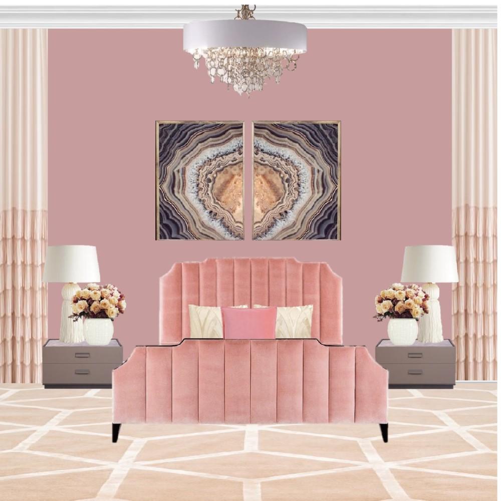 Спальня в розово-персиковых тонах