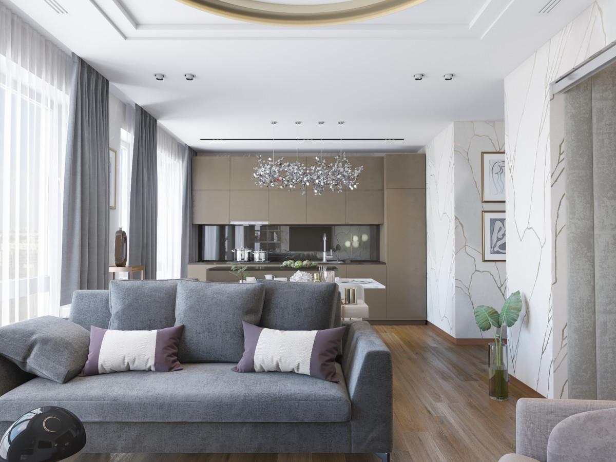 Дизайн однокомнатной квартиры площадью 44 метра