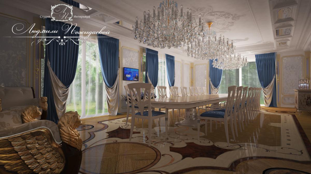Переговорная комната всегда должна быть светлая, солнечная, большая, удобная.  Эксклюзивный паркет подчеркивает важность происходящего.