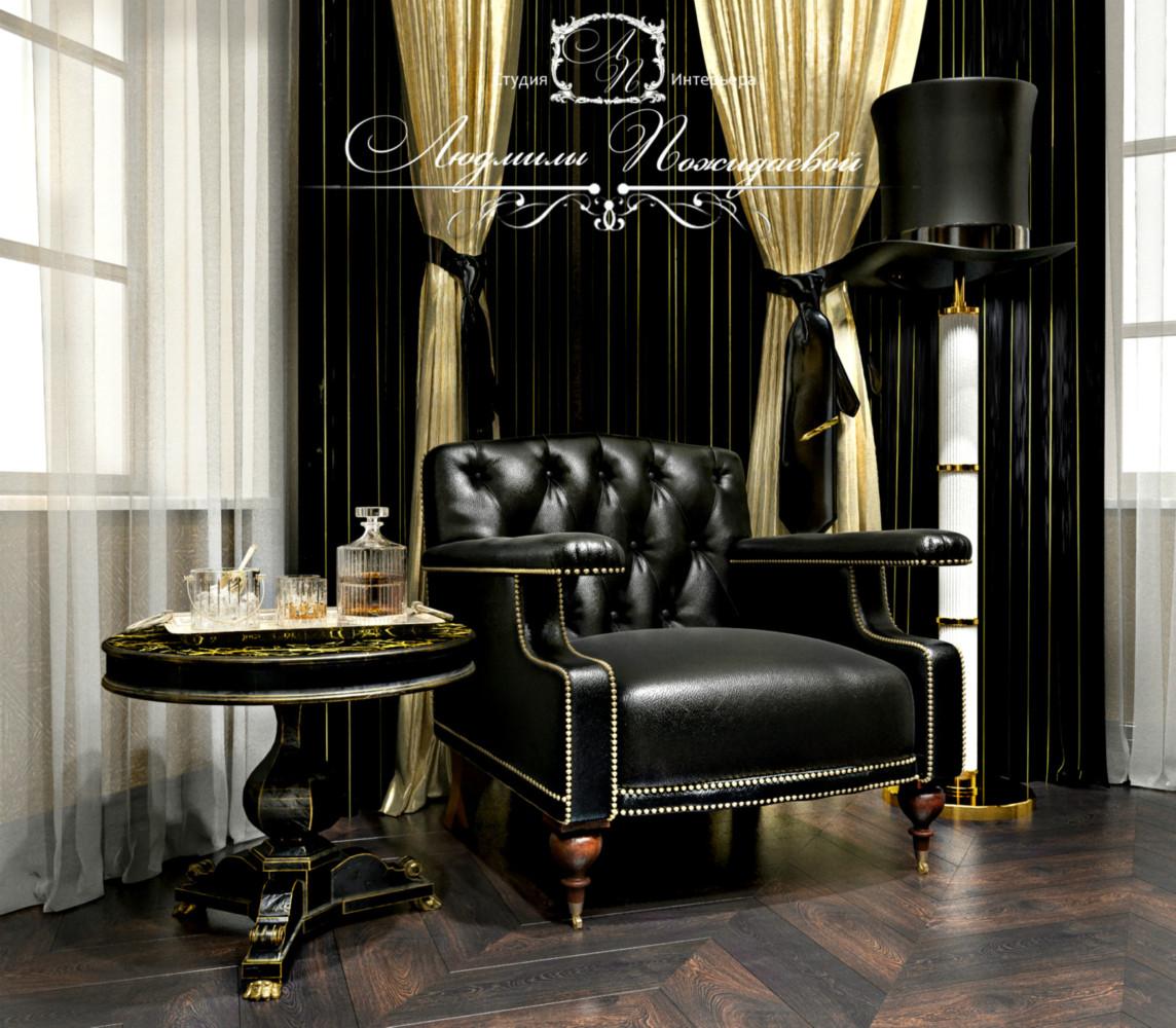 Гостеприимное кресло для посетителя вашего кабинета и стол для чашки чая или рюмки коньяку - необходимый атрибут в интерьере кабинета.