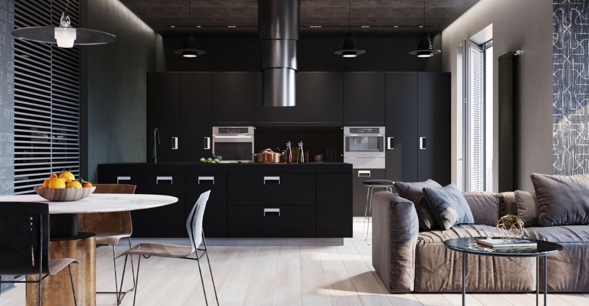 Яркая квартира с чёрными стенами
