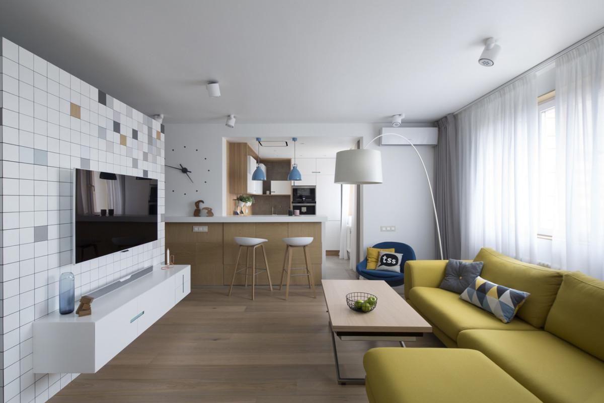 Квартира в современном стиле: дизайн с яркими акцентами