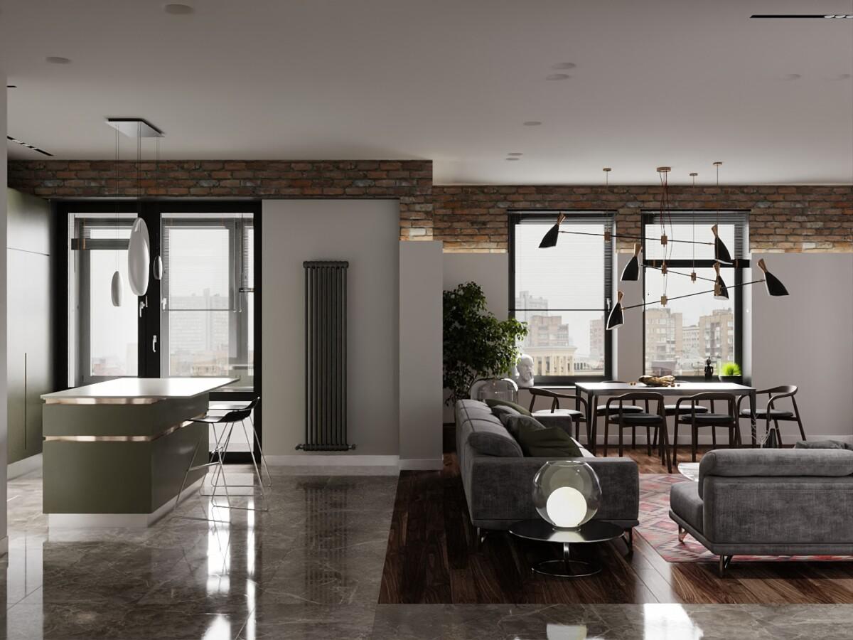 Студия для проживания молодого человека. Вся квартира как единое пространство, все зоны перетекают, практически нет перегородок и лишь спальная зона условно отделена, но в то же время она находится в едином пространстве студии.